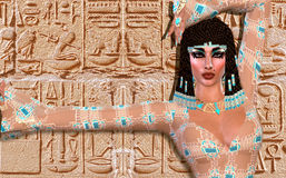 Cleopatra en modern digital konstversion stock illustrationer