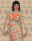 Cleopatra en modern egyptisk digital konstversion stock illustrationer