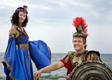 Cleopatra and the knight Stock Images