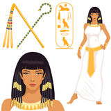 Cleopatra, pharaoh symbols and hieroglyphics Stock Photos