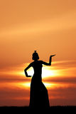 Cleopatra queen at sunset Royalty Free Stock Photos