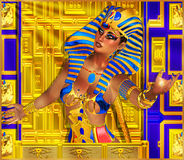 Cleopatra, and the rays of the Egyptian Sun God Ra . Royalty Free Stock Photography