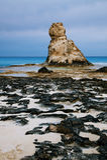 Cleopatra's beach famous rocks near  Marsa Matruh, egypt, night. Cleopatra's beach famous rocks near  Marsa Matruh, egypt,night exposure Stock Images