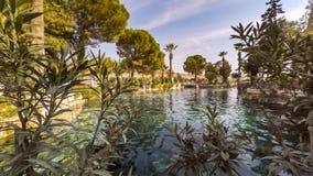 Cleopatra's Pool in antique Hierapolis, Pamukkale, Denizli, Turkey. Timelapse, 4k. Cleopatra's Pool in antique Hierapolis. This ancient polis located on hot stock video