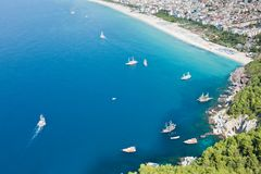 Cleopatra sand beach resort of Turkey Alanya Royalty Free Stock Photos