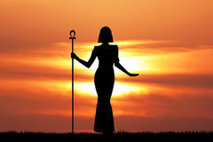 Cleopatra silhouette at sunset Royalty Free Stock Photos