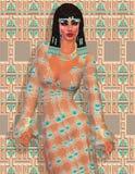 Cleopatra, una versione digitale egiziana moderna di arte illustrazione di stock