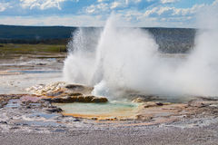 Clepsydra Geyser, Fountain Paint Pot, Yellowstone Stock Photo