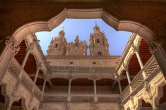 Clerecía from casa de las Conchas courtyard Stock Photography