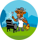 Clergy Cow Minister Barbecue Chef Rooster Caricature Royalty Free Stock Photos
