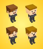 Clergyman block isometric cartoon character Stock Images