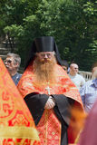 A clergyman. RUSSIA. PYATIGORSK. JUNE1: Religious procession in honor of the Blessing of Water June 1, 2013. Pyatigosk, Stavropol Territory stock photos