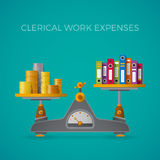 Clerical work expenses concept in flat style.  Stock Image