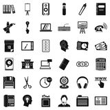 Clerical work icons set, simple style. Clerical work icons set. Simple set of 36 clerical work vector icons for web isolated on white background Royalty Free Stock Photos