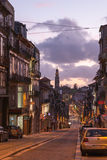 The  Clerigos street and the Clerigos Church in Porto Stock Images