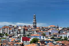 Clerigos Tower. View on old houses in Barredo district, Porto. In the centre of the image Clerigos Tower Stock Photo