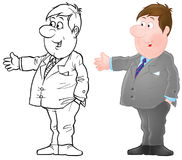 Clerk. In suit and tie (2 versions of the illustration Stock Photo