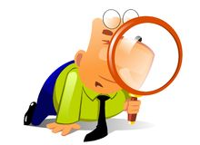 Clerk with big magnifying glass look for something. Businessman keeps in the hands of a huge magnifying glass and look through it Royalty Free Stock Image