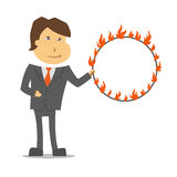 Clerk circus white background. A vector image of a clerk with a fire circle Stock Photography