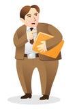 Clerk complain. Dissatisfied bureaucrat clerk complain and threaten Stock Photos
