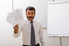 Clerk with contracts. Stock Photos