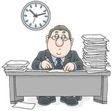 Clerk with documents. Vector illustration of a chubby white collar worker at table with papers Stock Images