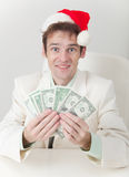 Clerk has received Christmas premium Stock Photography