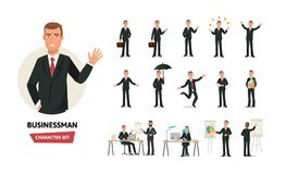 Clerk man in formal wear. Different poses, emotions, gestures, actions. Set of businessman working cartoon character in office work situations. Young clerk man Royalty Free Stock Image