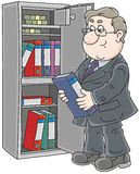 Clerk near a safe. Vector illustration of a chubby bookkeeper putting a folder with documents in his safe vector illustration