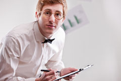 Clerk with a notepad Stock Images