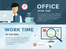 Clerk in office infographic. Work, time, loupe and. Computer. Vector stock illustration for design Stock Image