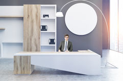 Clerk office, round poster, man Stock Images