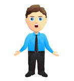 Clerk With Open Arms. In a blue shirt Royalty Free Stock Photo