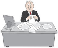 Clerk at paperwork. Clerk sitting at his desk does a paper work Stock Images