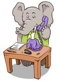 Clerk Phone Elephant. Elephant clerk at desk, answering the phone Stock Photos