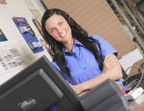Clerk portrait in home appliance shop supermarket Royalty Free Stock Image