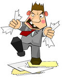 Clerk in rage. Sketchy clerk of businessman in rage destroying documents and folders Royalty Free Stock Photos