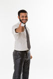Clerk showing thumb. Royalty Free Stock Images