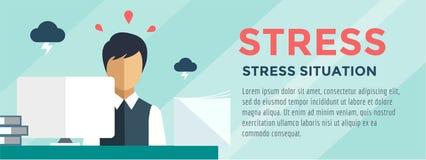 Clerk at Stress Illustration. Office, Table Stock Photos