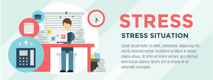 Clerk at Stress Illustration. Office, Table. Designer and Computer. Vector stock for design Stock Images