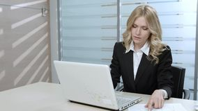 Clerk typing. Business woman in the workplace. Clerk typing. Woman on the computer. Office life stock video footage