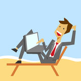 Clerk vacations. A clerk with a laptop having vacations Royalty Free Stock Image