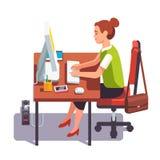 Clerk woman working on a desktop computer Royalty Free Stock Image