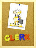 Clerk word on a corkboard Stock Photography