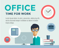 Clerk at Work infographic. Office, Table, Designer. And Computer. Vector stock illustration for design Royalty Free Stock Photos