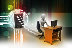 Clerk working in the office. 3d clerk working in the office Royalty Free Stock Photos