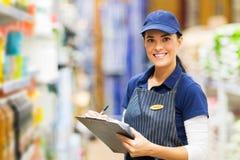 Clerk working supermarket royalty free stock photo