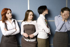 Clerks console their colleague. Stock Photos