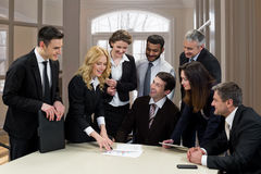 Clerks in a light office. Stock Images