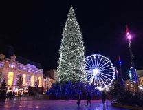 Night view christmas decoration and christmas treee on Place de royalty free stock image